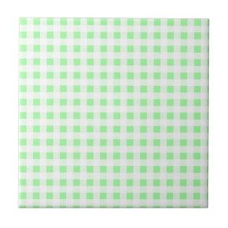 Pale Green Gingham Ceramic Tiles