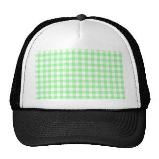 Pale Green Gingham Trucker Hat