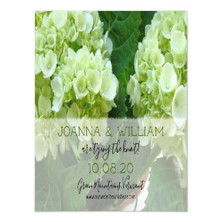 Pale Green Hydrangeas Magnetic Save the Date Magnetic Card