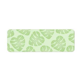 Pale Green Leaf Pattern. Return Address Label