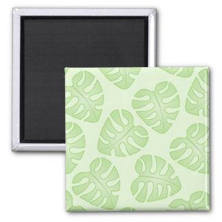 Pale Green Leaf Pattern Magnet