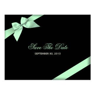 Pale Green Ribbon Wedding Save the Date 3 Postcard