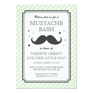 "Pale green stripes little man mustache baby shower 5"" x 7"" invitation card"