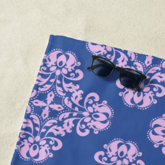 Pale lavender damask pattern on blue beach towel
