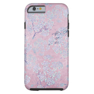 Pale Lavender Flower Branches on Pink Tough iPhone 6 Case