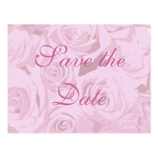 Pale Lavender Pink Roses Save-the-date postcard