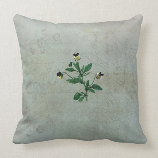 Pale Lichens and Wild Violas Throw Pillow