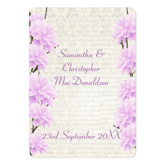 Pale lilac floral wedding favor thank you tag large business card