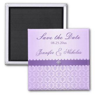Pale Lilac Metallic Damask & Ribbon Save the Date Fridge Magnet