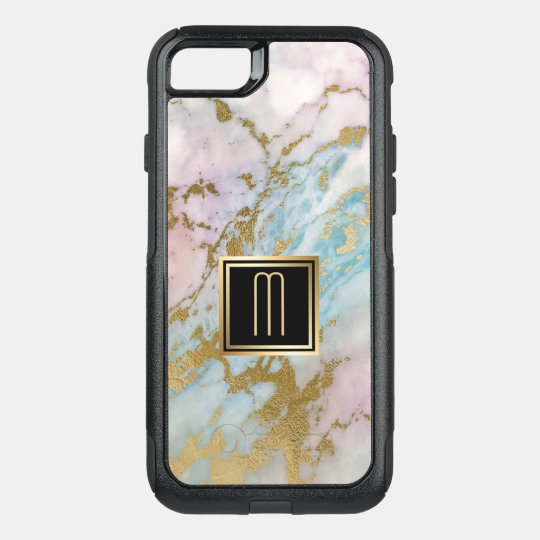 Pale Marble Gold Turquoise Monogram OtterBox Commuter iPhone 8/7 Case