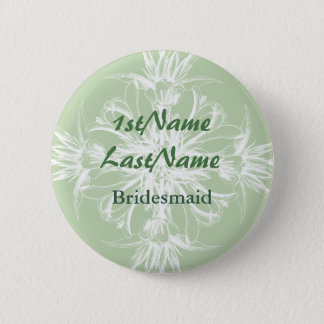 Pale Mint and White Floral ID Badge 2 Inch Round Button