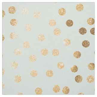 Pale Mint Blue and Gold Glitter City Dots Fabric