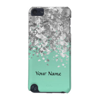 Pale mint green faux glitter personalized iPod touch (5th generation) case