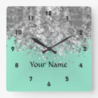 Pale mint green faux glitter personalized square wall clock