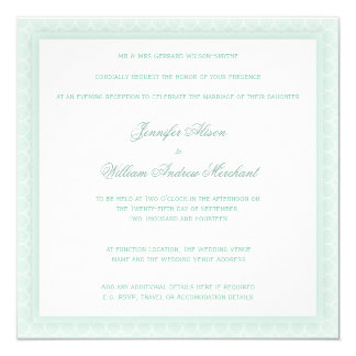 Pale Mint Green Quatrefoil Evening Wedding Invites