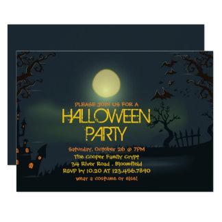 Pale Moon Halloween Party Invitation