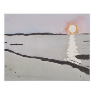 Pale Ocean Sunrise Poster