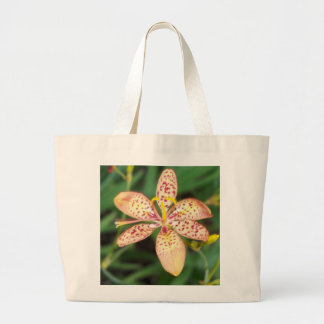Pale orange spotted Blackberry lily Large Tote Bag