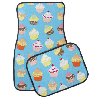 Pale Pastel Blue Cup Cakes Car Mat