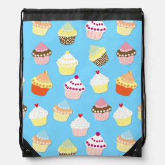 Pale Pastel Blue Cup Cakes Drawstring Bag