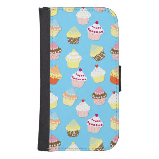 Pale Pastel Blue Cup Cakes Samsung S4 Wallet Case