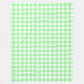 Pale Pastel Green and White Gingham Checks Fleece Blanket