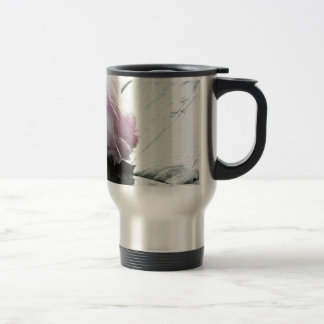 Pale Pastel Long Stem Rose on Deck Travel Mug