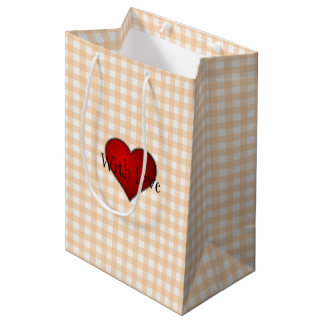 Pale Peach Gingham Red heart With Love Medium Gift Bag