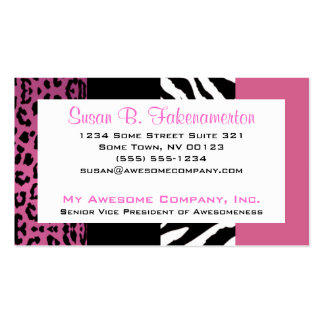 Pale Pink and Black Animal Print Zebra and Leopard Pack Of Standard Business Cards