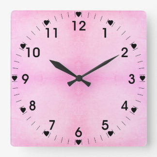 Pale Pink And Black Hearts Square Wall Clock
