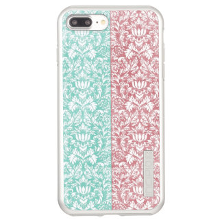 Pale Pink and Blue Damask Floral Kawaii Incipio DualPro Shine iPhone 8 Plus/7 Plus Case