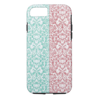 Pale Pink and Blue Damask Floral Kawaii iPhone 7 Case