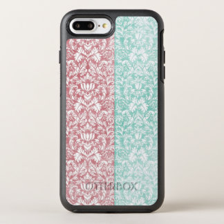 Pale Pink and Blue Damask Floral Kawaii OtterBox Symmetry iPhone 8 Plus/7 Plus Case