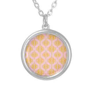Pale Pink and Gold Damask Pattern Necklaces