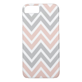 Pale Pink and Grey Chevron iPhone 7 Case