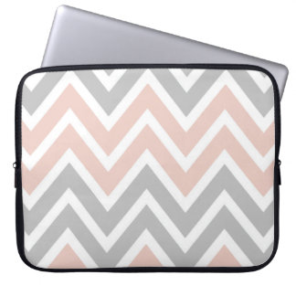Pale Pink and Grey Chevron Laptop Sleeve