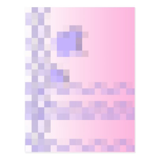 Pale Pink and Purple Squares Pattern. Post Cards