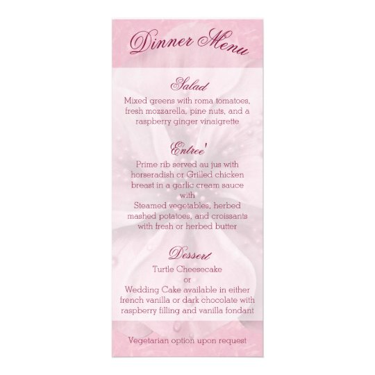 Pale Pink and White Floral Menu