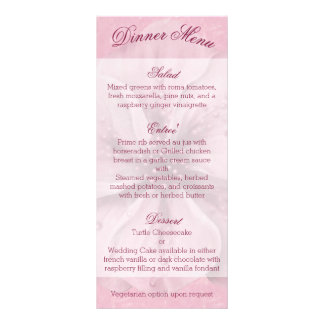 Pale Pink and White Floral Menu Customized Rack Card
