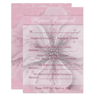 Pale Pink and White Floral RSVP Card
