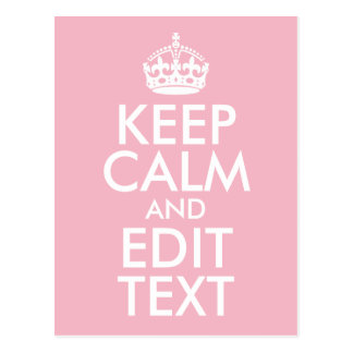 Pale Pink and White Keep Calm and Edit Text Postcard