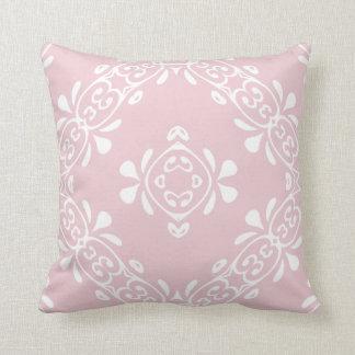 Pale Pink Blush Scroll Pattern Throw Pillow