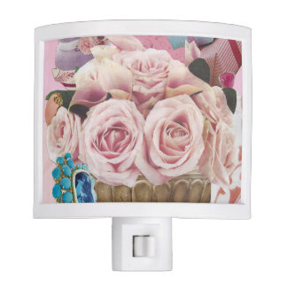 Pale Pink Cabbage Roses Night Light