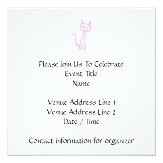 Pale Pink Cat, Winking. 5.25x5.25 Square Paper Invitation Card