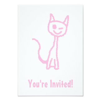 "Pale Pink Cat, Winking. 5"" X 7"" Invitation Card"