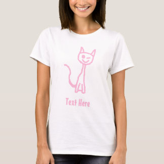 Pale Pink Cat, Winking. T-Shirt