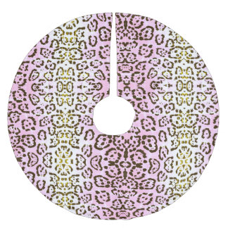 Pale Pink Cheetah Pop Art Cat Animal Print Brushed Polyester Tree Skirt
