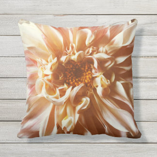 Pale pink dahlia throw pillow