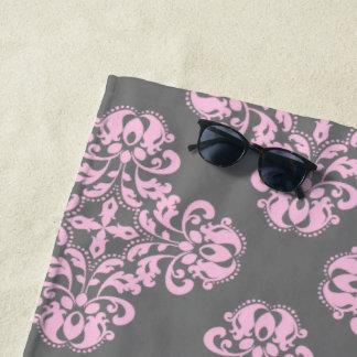 Pale pink damask on gray pattern beach towel