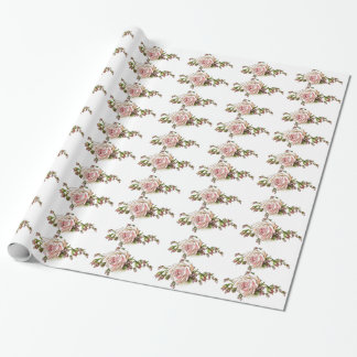 Pale Pink Delicate Roses Gift Wrap Paper